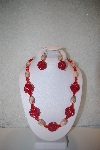 "MBAHB #32-029  ""One Of A Kind Red Glass Bead & Marble Necklace & Earring Set"""