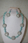 "MBAHB #32-034  ""One Of A Kind Blue & Silver Bead Necklace & Earring Set"""