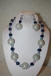 "MBAHB #32-044  ""One Of A Kind Blue & Silver Bead Necklace & Earring Set"""