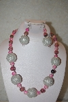"MBAHB #32-055  ""One Of A Kind Pink & Silver Bead Necklace & Earring Set"""
