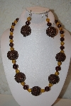 "MBAHB #32-064  ""One Of A Kind Brown & Golden Bead Necklace & Earring Set"""