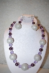 "MBAHB #32-071  ""One Of A Kind Purple, Lavender & Silver Bead Necklace & Earring Set"""