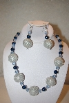 "MBAHB #32-077  ""One Of A Kind Blue & Silver Bead Necklace & Earring Set"""