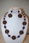 "MBAHB #32-084  ""One Of A Kind Brown, Blue & Pink Bead Necklace & Earring Set"""