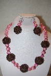 "MBAHB #32-089  ""One Of A Kind Pink & Brown Bead Necklace & Earring Set"""