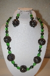 "MBAHB #32-094  ""One Of A Kind Green Bead Necklace & Earring Set"""