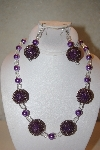 "MBAHB #32-104  ""One Of A Kind Purple & Clear Bead Necklace & Earring Set"""
