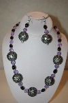 "MBAHB #32-113  ""One Of A Kind Black & Lavender Bead Necklace & Earring Set"""