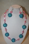 "MBAHB #32-118  ""One Of A Kind Blue & Pink Necklace & Earring Set"""