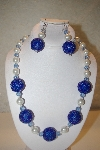 "MBAHB #32-124  ""One Of A Kind Blue & White Bead Necklace & Earring Set"""