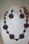 "MBAHB #32-129  ""One Of A Kind Purple Bead Necklace & Earring Set"""