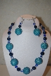 "MBAHB #32-153  ""One Of A Kind Blue Bead Necklace & Earring Set"""
