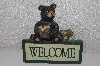 "**MBAMG #0031-021  ""Wood Look Heavy Resin Bear Welcome Sign"""