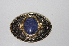 "MBAMG #0031-047  ""Western Style Oval Gold Plated Belt Buckle With Lapis Gemstone Center"""
