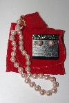**MBAMG #099-104  Kenneth Jay Lane's Pink Simulated Pearl Necklace & Earring Set""