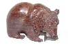 "**MBAMG #099-253  ""Large Hand Carved Rose Wood Grizzly With Fish"""