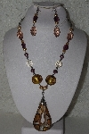 "MBAHB #00013-8630  ""Shades Of Yellow & Gold Glass & Acrylic Bead Necklace & Earring Set"""