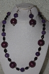 "MBAHB #00013-8442  ""One Of A Kind Purple & Black Bead Necklace & Earring Set"""