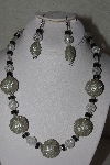 "MBAHB #00013-8608  ""One Of A Kind Silver, Clear & Black Glass Bead Necklace & Earring Set"""