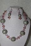 "MBAHB #00013-8598  ""One Of A Kind Pink & Silver Bead Necklace & Earring Set"""