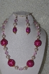 "MBAHB #00013-8593  ""One Of A Kind Pink Bead Necklace & Earring Set"""