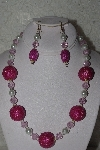 "MBAHB #00013-8583  ""One Of A Kind Pink & White Bead Necklace & Earring Set"""