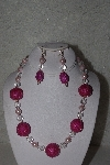 "MBAHB #00013-8578  ""One Of A Kind Pink & Clear Bead Necklace & Earring Set"""