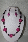 "MBAHB #00013-8573  ""One Of A Kind Pink & Black Bead Necklace & Earring Set"""
