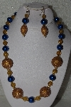 "MBAHB #00013-8568  ""One Of A Kind Gold & Blue Bead Necklace & Earring Set"""