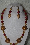 "MBAHB #00013-8563  ""One Of A Kind Gold & Red Bead Necklace & Earring Set"""