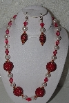 "MBAHB #00013-8553  ""One Of A Kind Red & Pink Bead Necklace & Earring Set"""