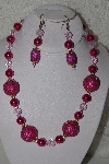 "MBAHB #00013-8548  ""One Of A Kind Pink Bead Necklace & Earring Set"""