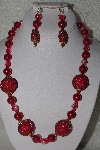 "MBAHB #00013-8544  ""One Of A Kind Red Bead Necklace & Earring Set"""