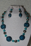 "MBAHB #00013-8481  ""One Of A Kind Blue & Silver Bead Necklace & Earring Set"""