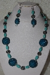 "*MBAHB #00013-8496  ""One Of A Kind Blue & Grey Bead Necklace & Earring Set"""