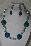 "MBAHB #00013-8506  ""One Of A Kind Blue & Pale Pink Bead Necklace & Earring Set"""