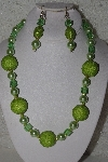 "MBAHB #00013-8518  ""One Of A Kind Lime Green Bead Necklace & Earring Set"""
