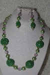 "MBAHB #00013-8528  ""One Of A Kind Green & Pink Bead Necklace & Earring Set"""