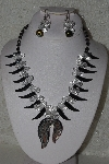 "MBAHB #00014-8864  ""Beautiful Black & Clear Bead Necklace & Earring Set"""