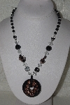 "MBAHB #00014-8846  ""Clear, Black & Copper Folied Glass Bead Necklace"""