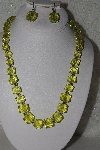 "MBAHB #00014-8858  ""Yellow/Green Faceted Puffed Cube Acrylic Necklace & Earring Set"""