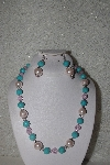 "MBAHB #00014-8721  ""One Of A Kind Blue & Pink Bead Necklace & Earring Set"""