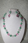 "*MBAHB #00014-8702  ""One Of A Kind Pink, Clear & Green Bead Necklace & Earring Set"""