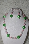 "MBAHB #00014-8687  ""One Of A Kind Green, Pink & Clear Bead Necklace & Earring Set"""