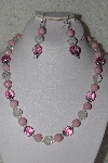 MBAHB #00014-8677  :One Of A Kind Pink & Clear Bead Necklace & Earring Set""