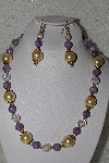 "MBAHB #00014-8667  ""One OF A Kind Gold, Lavender & Clear Glass Bead Necklace & Earring Set"""