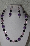 "MBAHB #00014-8641  ""One Of A Kind Lavender, Black & Pink Bead Necklace & Earring Set"""