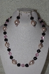 "MBAHB #00014-8802  ""One Of A Kind Pink & Black Bead Necklace & Earring Set"""