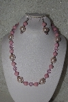 "MBAHB #00014-8777  ""One Of A Kind Pink Bead Necklace & Earring Set"""