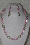 "MBAHB #00014-8762  ""One Of A Kind Pink & Cream Bead Necklace & Earring Set"""